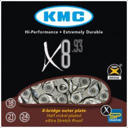 KMC X8 Silver 8 sebességes kerékpár lánc 2019