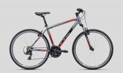 CTM Twister 1.0 szürke-piros cross trekking kerékpár 2020