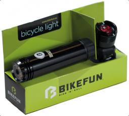Bikefun Shot E+H, 1+1 LED első: USB, hátsó: 2 x CR2032 kerékpár lámpa szett 2018