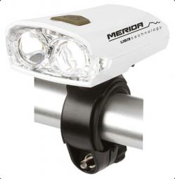 Merida 2 LED 3 funkciós, USB, aku (3,7V Li-ion) kerékpár első lámpa 2019