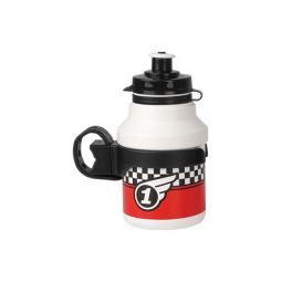 Polisport Race 350 ml gyermek kerékpár kulacs pattintós kupakkal+ gumipántos kulacstartóval 2020